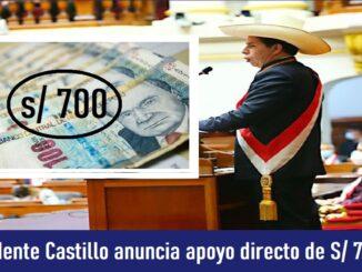 Presidente Castillo anuncia apoyo directo de S/ 700 para familias